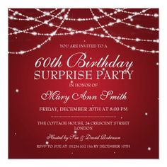 Surprise Birthday Party String Of Stars Red 525x525 Square Paper Invitation Card