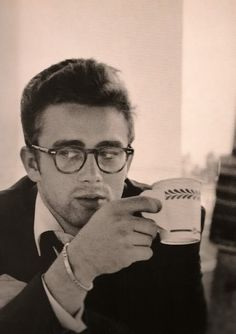 James Dean, in glasses, with coffee. Mmm hmmm.