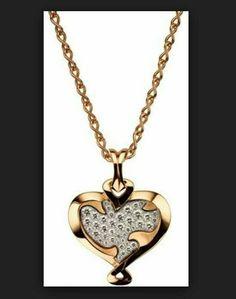 Full pave rose in heart pendant