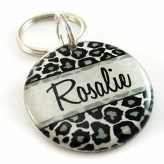 Black & White Leopard Print Pet Tag