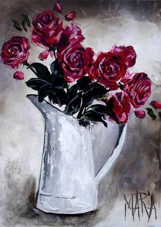 Artwork of Maria exhibited at Robertson Art Gallery, specialists in the selling of original art of top South African Artists. Flower Canvas, Flower Art, Floral Drawing, South African Artists, Botanical Prints, Beautiful Roses, Art Lessons, Watercolor Paintings, Glass Art