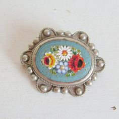 Vintage micro mosaic pin or brooch silver French