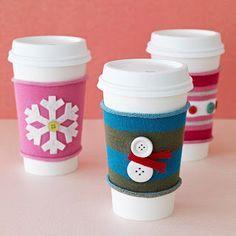 DIY Coffee Sleeve using Christmas socks