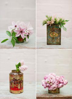 vintage tin can floral arrangements