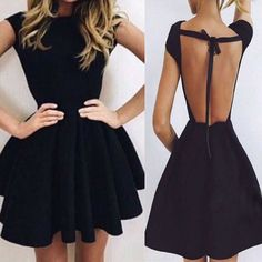 Short sleeve black mini open back unique sexy charming homecoming prom –…