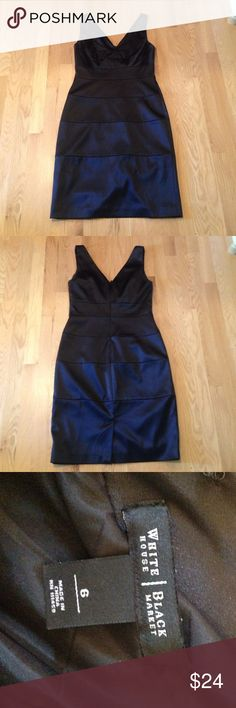 White House Black Market Dress Formal Beautiful This dress is in great condition! It is 97% polyester and 3% spandex. Perfect for formals or dressy occasions. It has a slit in the back to make walking easier. Is a little form fitting but not skin tight. White House Black Market Dresses