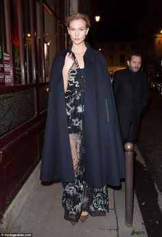 Braless Lara Stone and Karlie Kloss wear revealing outfits to Paris dinner   Daily Mail Online