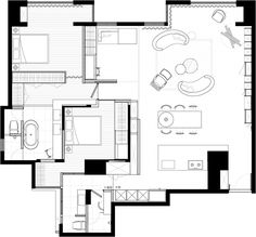 View the full picture gallery of Sojourn Small Apartment Plans, Apartment Layout, Loft Design, House Design, Design Shop, Home Interior Design, Interior And Exterior, Plan Sketch, Unit Plan