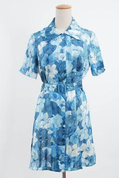 1970s Vintage Blue Japanese Floral Point Collar Mini Belt Dress | Short Sleeves Retro 70s Button Down Shift Summer Mini Dress | by FATFAM, $16.50  #fatfam #etsy #vintagedress #Minidress