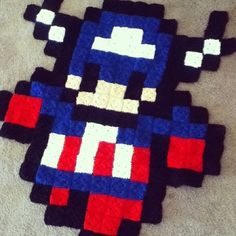 Captain America pixel crochet rug by grannysfanny--I wanna do this! I'm gonna do this! :D omg