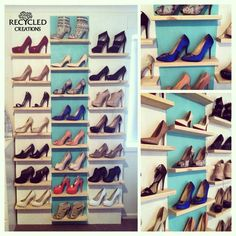 Pallet timber floating shelves wall of shoes - for more pallet ideas check out https://www.facebook.com/recycled.creations100