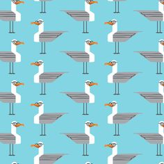 hipster seagull on blue fabric by littlearrowdesign on Spoonflower - custom fabric