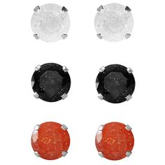 Set of 3-pair Sterling Silver 7-mm / Black/ Orange Ice Cubic Zirconia Stud Earrings, Women's