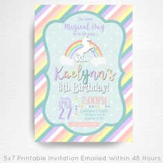 Enchanted Unicorn Rainbow Birthday Party Printable Invitation YOU Print Pastel Blue White This is an emailed file, nothing will be shipped to you. Please include your childs name, age and party details in the notes to seller section at checkout. We will email your high-resolution, print-ready file within 48 hours of receiving your party details and photo (if photo invitation has been purchased please email your photo to amy [at] printpopparty.com). Your invite will be formatted to print…