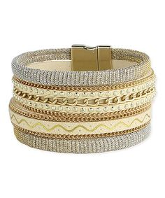 Goldtone Stacked Chain Bracelet #zulily #zulilyfinds