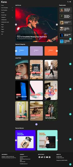 KANE is a WordPress Template with a unique design of its kind, ready to use and easy to configure, designed for blogs, complete news sites and even corporate or personal use. Built entirely with Bootstrap 4 and Advanced Custom Fields Pro, it features a customizable switch-based options panel to make the setup experience simpler, and an extremely simple reader interface designed for a pleasant experience. The name KANE is due to the 1941 film Citizen Kane, given its journalism-related theme. Wordpress Template, Wordpress Theme, Entertainment Blogs, Easy Reader, News Sites, News Magazines, Interface Design, Journalism