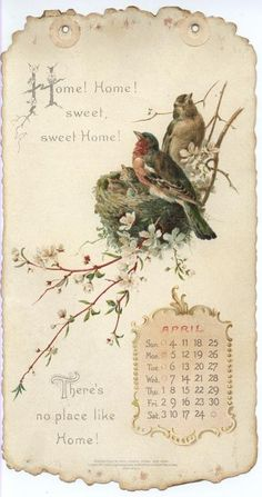 HOME SWEET HOME CALENDAR FOR 1897 april. ..♥..Nims..♥