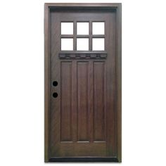 Steves & Sons 36 in. x 80 in. Craftsman 6 Lite Stained Mahogany Wood Prehung Front Door Hickory - March 23 2019 at Wood Entry Doors, Barn Doors, Entrance Doors, Garage Doors, Prehung Doors, Single Doors, Unfinished Wood, Do It Yourself Home, Home Decor
