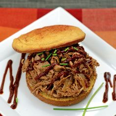 Slow Cooked Pulled Pork & Paleo BBQ Sauce » Sweet Potato Bun