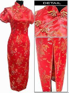 Black Womens Satin Long Cheongsam Qipao Traditional Chinese Dress Plus Size  S M L XL XXL XXXL 4XL 05823ad03f4c