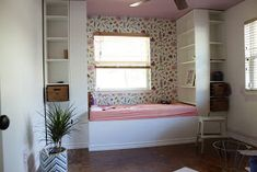 We transformed this space with built ins using Ikea bookshelves. This daybed space is so versitile and provides so much storage. Ikea Billy Bookcase, Bookshelves, Built In Daybed, Wall Nook, Ikea Book, Bed Base, Home Office Design, Reading Nook, New Room