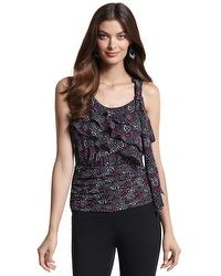 TIERED FEATHER-PRINT DATE TOP