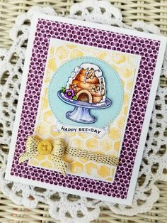 Bee Kind Toile Stamp Set | Power Poppy by Marcella Hawley, card design by Julie Koerber.