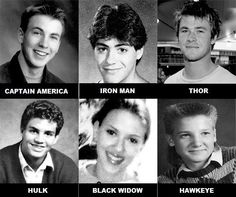 The Avengers when they were young - Celebrities from The Avengers when they were young: Chris Evans, Robert Downey Jr., Chris Hemsworth, Mark Ruffalo, Scarlett Johansson and Jeremy Renner.