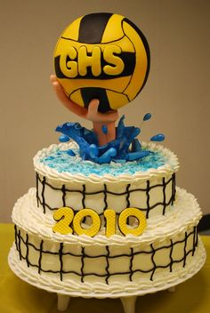Finally adding this photo. High school water polo team end of season party. Fun but crazy to do. Bottom covered with Pastry Pride then I used black buttercream for the cage net. Hand is gumpaste. I usually use RKT for the ball, but this time I used a styrofoam sphere and covered it with plastic wrap then icing then fondant. Gumpaste waves and splashes.