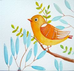 Yellow bird / blue flowers/ wall art/ nature/ nursery decor / watercolor painting / Art