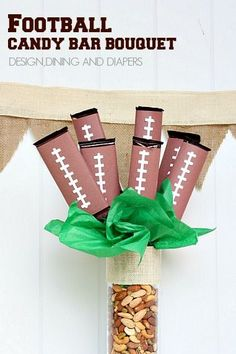 Football Candy Bar Bouquet! Easy centerpiece idea for the big game!