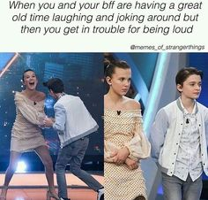 Millie Bobby Brown – Noah Schnapp beautiful moments – Behind the scenes Stranger Things part Stranger Things Have Happened, Stranger Things Funny, Stranger Things Netflix, Millie Bobby Brown, Stranger Danger, Don T Lie, Funny Relatable Memes, Camilla, Funny Moments
