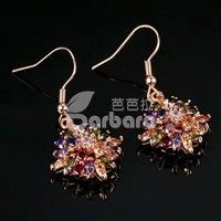 Barbara丨Fashion 18K Rose Gold Plated Colorful Flower Zircon Drop Earrings for Women