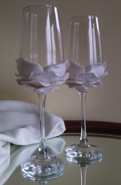 Wedding Glasses Pearly white Rose Champagne by PaintedGlassBiliana, $39.00