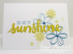 You are my Sunshine card DIY cardmaking Stampin Up shine - SU - CAS - Sunshine Sayings (saying, flower) Perfectly Wrapped , Sunshine Wishes Thinlits