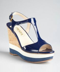 81662d72c4f Prada   Prada Sport royal blue patent leather t-strap wedge sandals   style    319561001