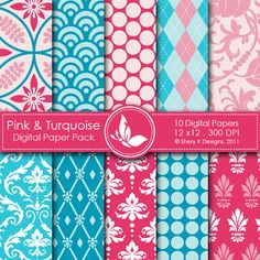 Pink & Turquois  This listing is for 10 printable High Quality Digital papers.    Each paper measures 12 x 12 inch, 300 DPI, JPEG format.    Great for scrapbooking, making cards, invitations, tags and photographers.
