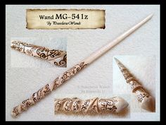Wand no. 109, commissioned by Mara G. and hand-carved from beech wood. The design features a free spiral handle with extensive swirl pyrography. The wand was unstained, giving the overall aesthetic...