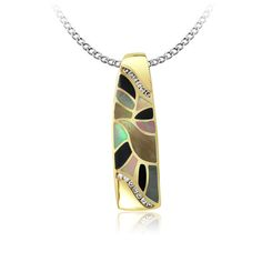 John Bagley Inlay Pendant, 14K Yellow Gold inlay pendant with 0.13cts.T.W.of Diamond Accents, Black Agate x 4, Black mother of pearl x 4, Brown mother of pearl x 4