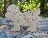 wood dog puzzle children's toy