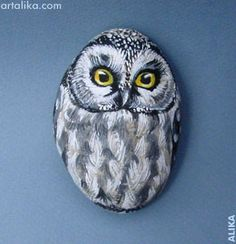 painted rocks: birds:Owl More