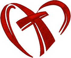 Machine Embroidery Design: Cross in Heart