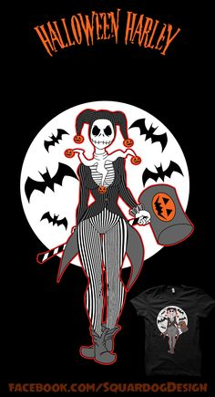 What's This? What's This?... .... .... ahhh.... smack it with a HAMMER!  Harley Quinn/Jack Skellington Mash-up-tastic! Art prints, t-shirts, etc available at a discount for the first 72hrs from teepublic! Buy Now- https://www.teepublic.com/show/699729-halloween-harley Vote on Qwertee- <adding link soon> #HarleyQuinn #JackSkellington #NightmareBeforeChristmas #MashupTees #HalloweenIdeas #Harley #Halloween #HorrorFan