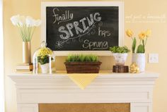 spring-mantel-decor -Like the wooden planter with fake grass!!