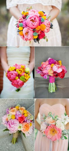 Bright and bold peony bouquets