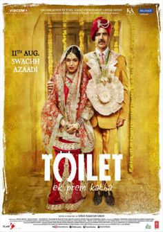 The Indian poster for the film Toilet: Ek Prem Katha, with Bhumi Pednekar and Akshay Kumar Hindi Movies Online, Movies To Watch Online, New Movies, Movies Free, 2017 Movies, Foreign Movies, Latest Movies, Hd Movies Download, Free Movie Downloads