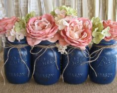 SALE 6 Pint Mason Jars Painted Mason Jars Flower Vases