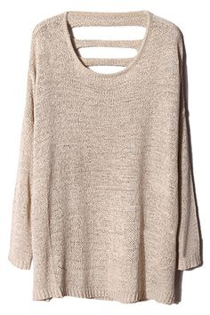 ROMWE | Cut-out Apricot Jumper, This would be a great multi purpose piece for fall and winter