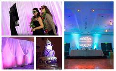 Transform any venue with the Ultimate Kit! Featuring uplighting, custom monogram gobo light, cake spotlight, backdrop, and photo booth. Your wedding in a box! Diy Wedding Backdrop, Diy Backdrop, Fall Wedding Decorations, Backdrops, Uplighting Wedding, Pipe And Drape, Event Lighting, Masquerade Party, Chuppah