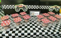 """Mud shots "" (pudding cups) at my son's Monster Jam birthday party"